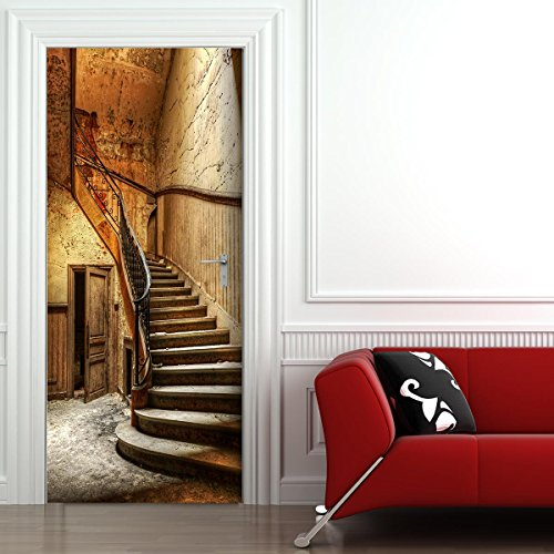 StickerProfis Türtapete selbstklebend TürPoster - ALTE TREPPE - Fototapete Türfolie Poster Tapete (Design-kopie-papier)