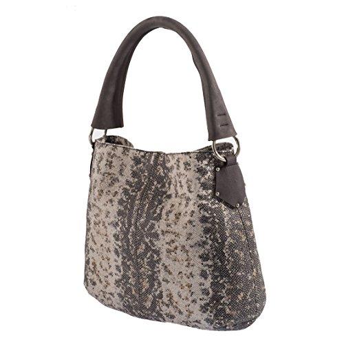 Tilla...Le Borse , sac bandoulière femme pitone bianco/grigio