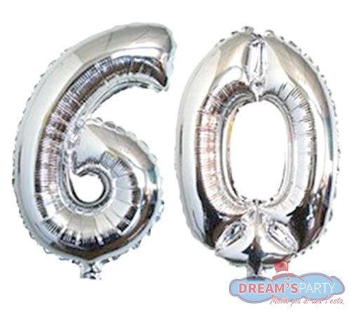 Pallone PALLOCINO numero 60 NUMERALE in MYLAR foil ARGENTO metal LUCIDO 41 cm - con Valvola Auto bloccante - per compleanni, anniversari, 18 anni, feste, party ecc. (60 SESSANTA) - 60 ° Compleanno Palloncini