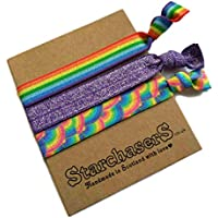 Rainbow Hair Tie Set, Colourful and Gentle elastic bands which can also be worn as funky friendship bracelets.