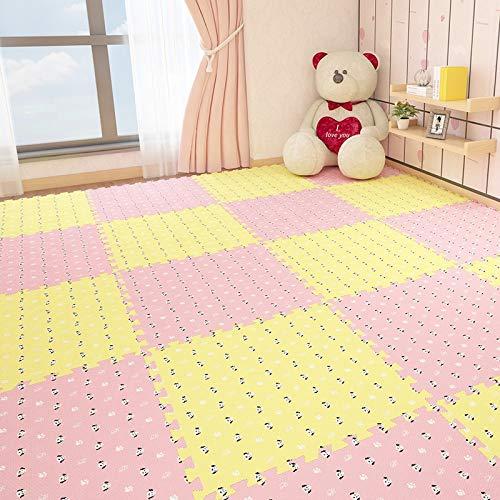 E.enjoy-Puzzle matten Soft Play-Matten for Kinder Pure Color Eva-Schaum-Matten Bodenbelag jiasaw Puzzle-Matten, Anzug Alter for 3 Jahre oder älter (Color : Pink+beige, Size : 16 Piece)