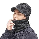 SIGGI Unisex warme Strickmütze und Schal Wintermütze mit Schirm Skimütze Grau