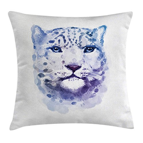 Zhiziqiu Animal Throw Pillow Cushion Cover Big Wild Cats Themed Print Watercolor Style Leopard Illustration Jungle Wildlife Decorative Square Accent