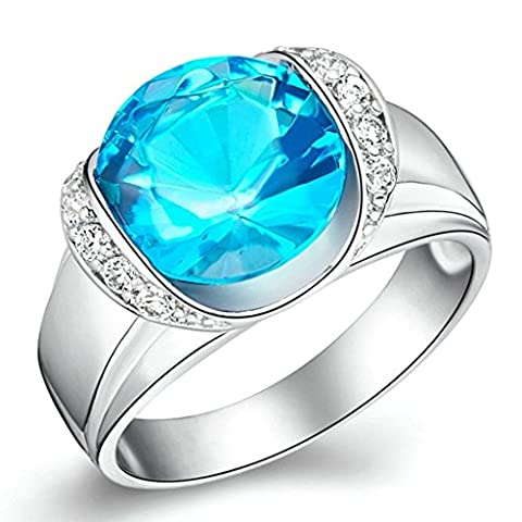 Daesar Silver Plated Women Engagement Ring Round Cut Created Crystal Ring Halo Rings Size:P 1/2