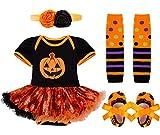 IEFIEL Vestido Calabaza para Bebe Niña Disfraz Halloween Cosplay Conjunto Infantil Pelele con Tutú Body Manga Cortas Banda de Cabeza Calientapiernas Zapatos Negro 3-6 Meses