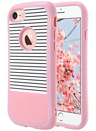 Cover iPhone 7, ULAK iPhone 7 Custodia Cover strati in silicone a shell super protettiva prova di collisione case cover per Apple iPhone 7 (4,7 pollici) Mint Stripes + Grigio Oro Rosa Stripes
