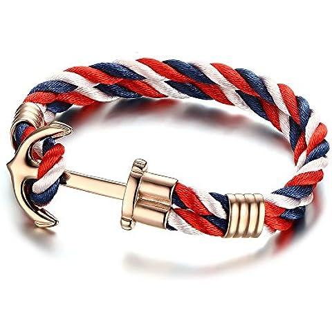 Vnox Cuerda de nylon de acero inoxidable de las mujeres de los hombres 2 capas de oro náutico Viking Anchor Cuff Bracelet,21cm