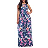 Bekleidung Longra❤️❤️ Kleider Damen, Frauen Ärmelloses Sommerkleid Strandkleider Blumenmuster Lang Maxi Kleid mit Taschen (L, Navy 09)