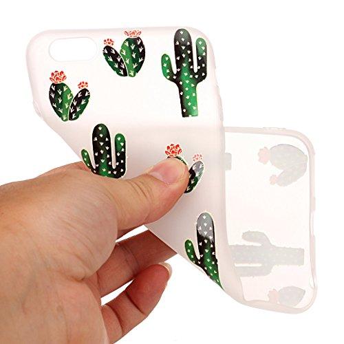 AllDo Weiche Hülle für iPhone 5/5S/SE TPU Silikon Schutzhülle Schlanke Flexibel Schale Ultra Dünne Leichte Tasche Glatte Etui Transparent Clear Case Cover Einzigartiges Entwurf Hülle Kratzfeste Stoßfe Kaktus