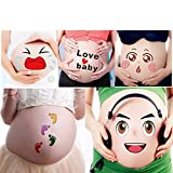 TAFLY Pregnant Week Belly Stickers Photography Props Unborn Baby Facial Expressions Bump 5 Sheets