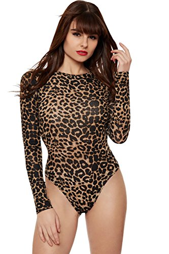 Women's Stretchy Long Sleeve Leopard Print Leotard