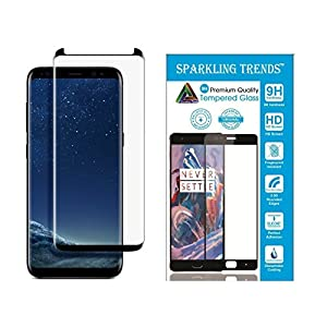 SPARKLING TRENDS 6.2-inch 3D Tempered Glass for Samsung Galaxy S8 Plus(Black)