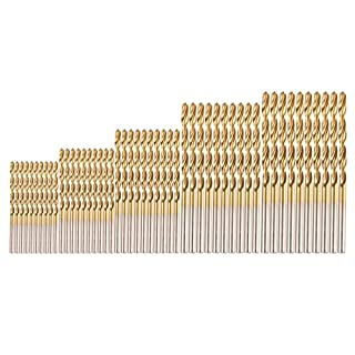 50Pcs Twist Drill Bit Set 1/1.5/2/2.5/3mm Titanium Coated Drill Bit Set HSS Shank Drill Bit Set Tools High Speed Steel Nitride Drill Bit Set with drilling ability For Wood Plastic Aluminum Copper