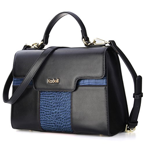 Krokodil-leder Handtasche (Kadell Frauen Handtaschen Krokodil Muster Leder Schultertasche Elegant Business Damen Taschen Blau)