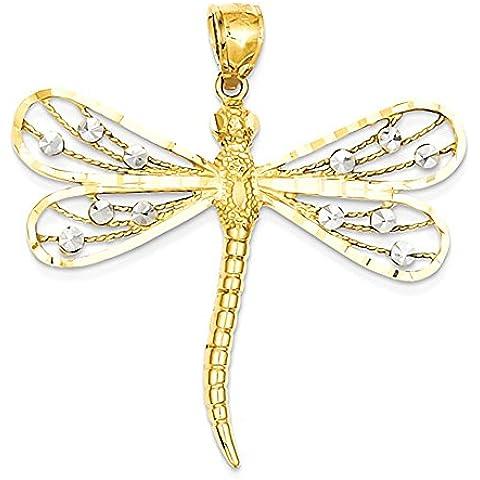14K bicolore diamantato filigrana pendente della libellula