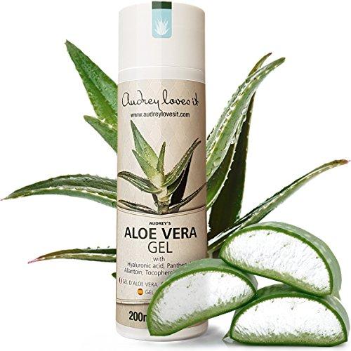 Aloe Vera Gel DELUXE mit Hyaluron, Panthenol und Allantoin/Haut-Gel & After Sun Gel für Gesicht & Körper, 200 ml/Vegan