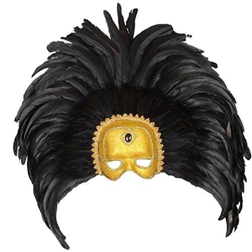 Große Venezianische Federmaske Colombina Maske Rio schwarz-gold Samba Feder Kopfschmuck Brasilien Ballmaske Karneval Tänzerin Augenmaske Venedig Maskenball Accessoire