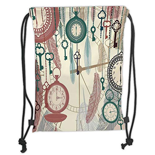 Trsdshorts Drawstring Backpacks Bags,Antique Decor,Traditional Pocket Watches with Feather and Old Key Portable Time Flies Hour Hand Artsy Theme,Multi Soft Satin,5 Liter Capacity,Adjustable S