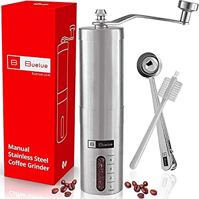 Manual Coffee Grinder v2.0 with Ceramic Grinding Mechanism from Buelue | Manual Coffee Mill | Espresso | Stainless Steel | Grinding Level Can Be Set | Includes Measuring Spoon with Clip Function | 1 Year 100% Satisfaction Garantie from Buelue