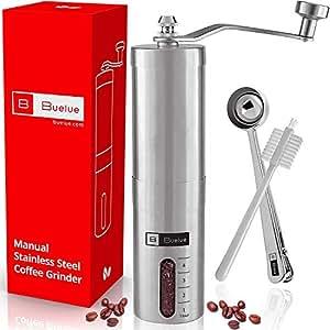 Buelue Moulin à Café Manuel v2.0 avec Mécanisme de Concassage en Céramique | Espresso | en Acier Inoxydable | Emballage cadeau disponible 🎁 | Garantie de satisfaction ☕