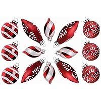 Valery Madelyn Bolas de Navidad, Bolas de Cristal Rojo y Blanco Adornos de Navidad Adornos de árbol Novedad Adornos de Bola con Cadena pre-Atados (Juego de 14)