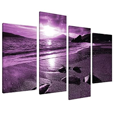 Large Purple Landscape Canvas Wall Art Pictures XL 130cm Prints 4077 - cheap UK canvas shop.