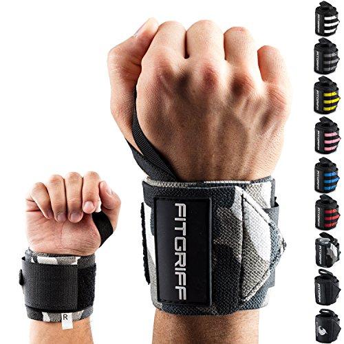 Fitgriff® Handgelenk Bandagen [Wrist Wraps] 45cm Handgelenkbandage für Fitness, Bodybuilding, Kraftsport & Crossfit - für Frauen und Männer (Nike Sport Plus Sehen)