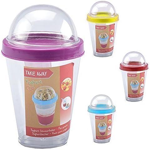 Tazón de cereales para Llevar Muesli Taza con cuchara Tarrina de yogur Obstbecher Tazas de viaje para Tomar Escuela Oficina - 4er-Sparset