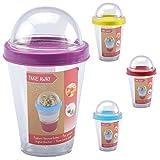 Ciotola di cereali To Go Muesli Tazza con cucchiaio Bicchiere per yogurt Obstbecher Bicchiere gigante da Prendere Ufficio Scuola - 1x