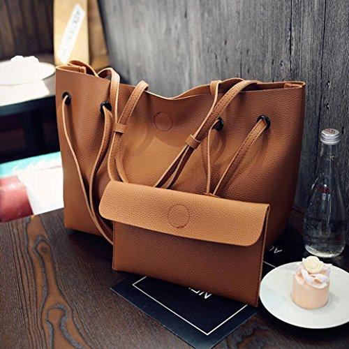 Longra Vestito del sacchetto di spalla + il sacchetto di mano del modello Lichee dell'unità di elaborazione delle donne Marrone
