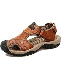 MXNET Tongs Tongs Chaussures, Casual Handwork Anti-Dérapant Souple Sandales Plates en Cuir Véritable Plage extérieure Pantoufles pour Hommes,Sandales pour Homme (Couleur : Jaune, Size : 44 EU)