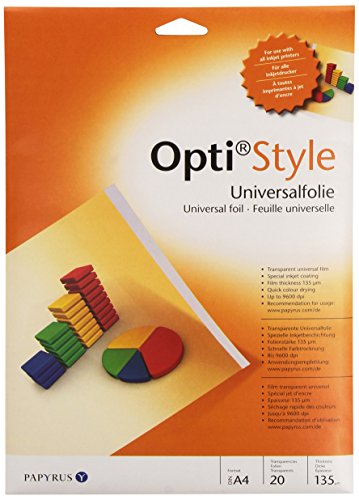 Papyrus 88082000 bedruckbare Overhead-Folie Opti-Style für Präsentationen, DIN-A4, 20 Folien/Packung, transparent