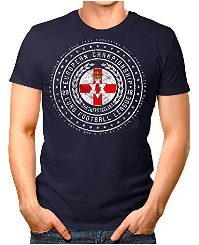 OM3® - Northern Ireland - Herren T-Shirt Nordirland Wappen Fußball Trikot EM'16 WM Championship Vintage Navy XL