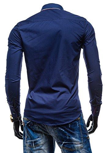 BOLF - Chemise casual – Multicolore – BY MIRZAD 4792 – Homme Bleu foncé