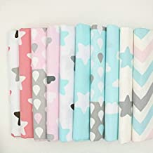 Retales de telas de algodón con estampados infantiles en zigzag y estrellas, 40 x 50 cm, 10 unidades