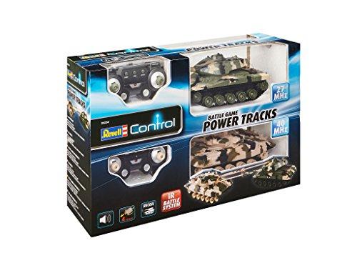 Revell Control 24224 – RC Panzer Set, Battle Game POWER TRACKS, 2 RC Panzer mit Infrarot-Schussfunktion, Soundmodul, Rückstoßeffekt, Mündungsfeuer-LED, Kettenlaufwerk mit Gummikette, MHz - 3