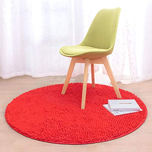 XC&MN Nicht-Slip Runde Caterpillar Badematte Badvorleger, Extra Soft Shaggy Super Saugfähig Plüsch Fußmatten Für Wohnzimmer Schlafzimmer Maschinenwäsche Chemische-rot Diameter:120cm(47inch) -