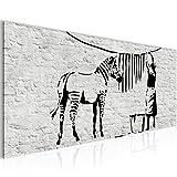 Bilder Washing Zebra - Banksy Graffiti Wandbild Vlies - Leinwand Bild XXL Format Wandbilder Wohnzimmer Wohnung Deko Kunstdrucke Grau 1 Teilig -100% MADE IN GERMANY - Fertig zum Aufhängen 303212a