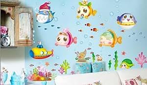 Stickers muraux Cartoon fish océan sous-marin décor amovible de mur de salle de stickers pour la maternelle de salles de bains des enfants