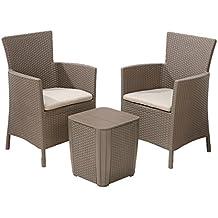Keter Iowa - Set de 2 sillas y una mesa, color capuchino