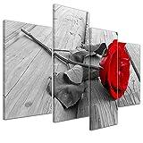 Kunstdruck - Rose Steg - Bild auf Leinwand - 120x80 cm 4 teilig - Leinwandbilder - Geist & Seele - Pflanzen - Blumen - rote Rose - Symbol
