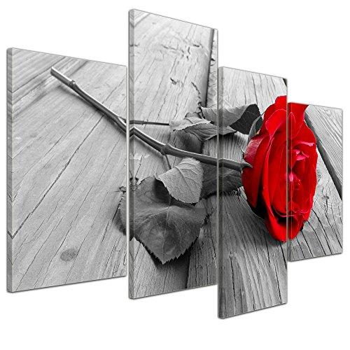 Bilderdepot24 Kunstdruck - Rose Steg - Bild auf Leinwand - 120x80 cm 4 teilig - Leinwandbilder -...