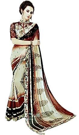 Monika Fashion Women's Chiffon Saree (MF-3013_Multicolor_Free Size)