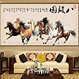 GUANT HOME Selbstklebende Hintergrundwand , Chinese Eight Horse Abbildung passt gemütlich Agait Bürosofa im Wohnzimmer Wandkunst Dekoration Tapete selbstklebende Tapete , dekorativer wasserdichter Sti