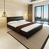 Festnight Anself lit en cuir artificiel avec rembourrage confortable 180 x 200 cm