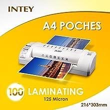INTEY Películas laminadoras Bolsillo Transparente Pack de 100 216 x 303 mm Para Fotos, Grosor 125 Mic Documentos De Película Y De Archivos