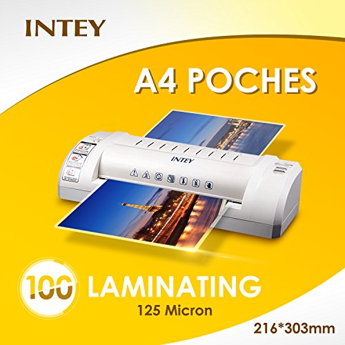 INTEY Laminating Pouches Transparent Hot Laminating Films A4 Size Thickness and Film Laminating Sheet of 216x303 mm 125mic (Pack of 100) Test