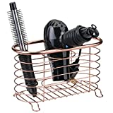 mDesign Bathroom Countertop Storage Organizer Basket for Hair Dryer, Flat Irons, Curling Wands - Rose Gold