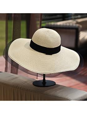 SituMi Señoras Verano sombrero para el sol Sombrero de Paja plegable disquete ala ancha playa grande