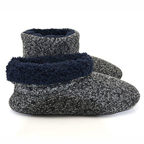 MStar Homme Haute Qualité Niche Chaussons dhiver chaud anti-dérapant chaussures doublées pour intérieur/extérieur schwarz
